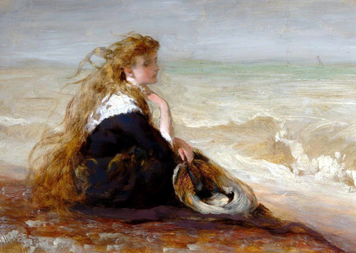 art - Hicks girl seated by shore