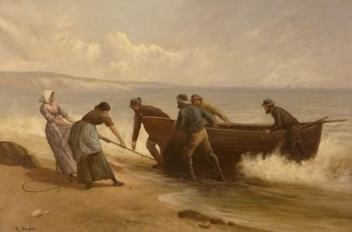 Douglas, Rose, active 1893-1898; Pulling Rowboat Ashore